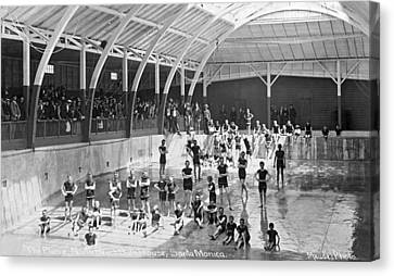 North Beach Bath House Canvas Print by Underwood Archives