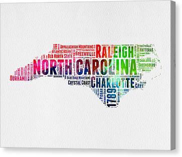 North Carolina Watercolor Word Cloud Map Canvas Print by Naxart Studio