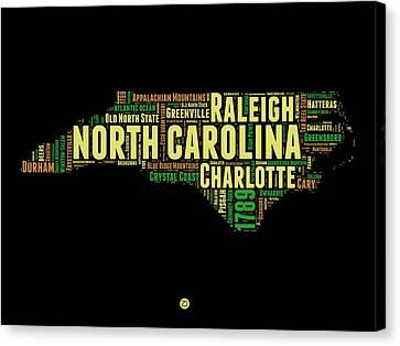 North Carolina Word Cloud Map 1 Canvas Print by Naxart Studio