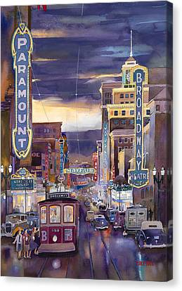 North On Broadway 1940 Canvas Print by Mike Hill