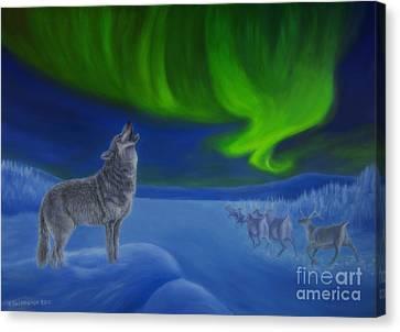 Northern Lights Night Canvas Print by Veikko Suikkanen