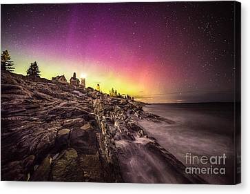 Northern Lights Over Pemaquid Point Canvas Print by Benjamin Williamson