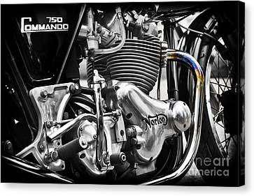 Norton Commando 750cc Cafe Racer Engine Canvas Print by Tim Gainey