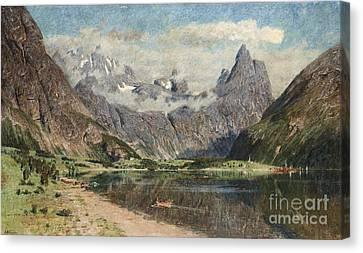 Norwegian Fjord Landscape Canvas Print by Celestial Images