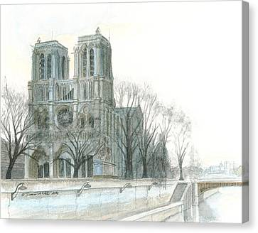 Notre Dame Cathedral In March Canvas Print by Dominic White