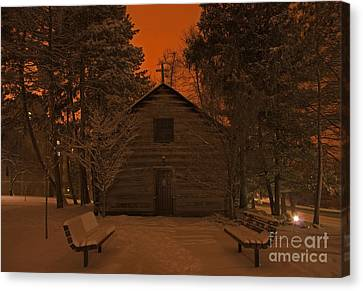 Notre Dame Log Chapel Winter Night Canvas Print by John Stephens