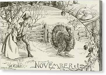 November   Vintage Thanksgiving Card Canvas Print by American School