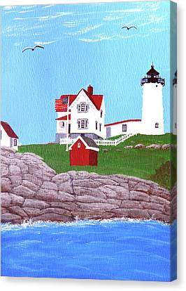 Nubble Lighthouse Painting Canvas Print by Frederic Kohli