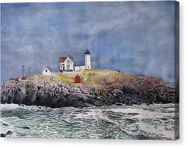 Nubble Lighthouse Canvas Print by Sharon Farber