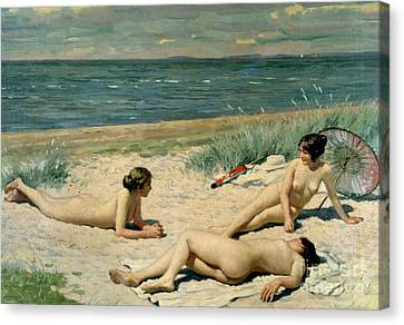 Nude Bathers On The Beach Canvas Print by Paul Fischer