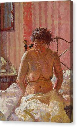 Nude In An Interior Canvas Print by Harold Gilman