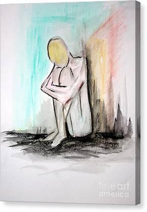 Nude In Watercolor 4 Canvas Print by Julie Lueders