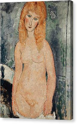 Nude Standing Canvas Print by Amedeo Modigliani