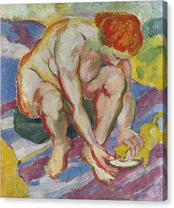Nude With Cat Canvas Print by Franz Marc