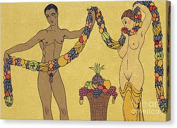 Nudes  Illustration From Les Chansons De Bilitis Canvas Print by Georges Barbier