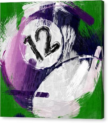 Number Twelve Billiards Ball Abstract Canvas Print by David G Paul