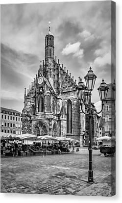 Nuremberg Church Of Our Lady And Main Market Monochrome Canvas Print by Melanie Viola