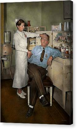 Nurse - Sick Day - 1937 Canvas Print by Mike Savad