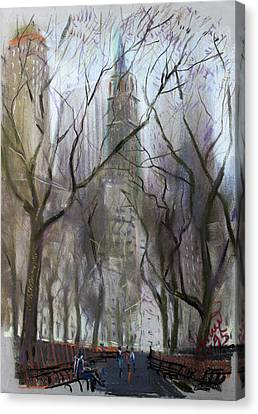 Nyc Central Park 1995 Canvas Print by Ylli Haruni