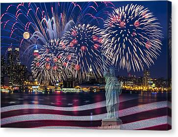 Nyc Fourth Of July Celebration Canvas Print by Susan Candelario