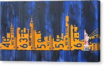Nyc New York City Skyline With Lady Liberty And Freedom Tower Recycled License Plate Art Canvas Print by Design Turnpike