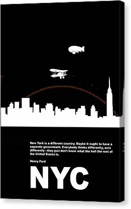 Nyc Night Poster Canvas Print by Naxart Studio