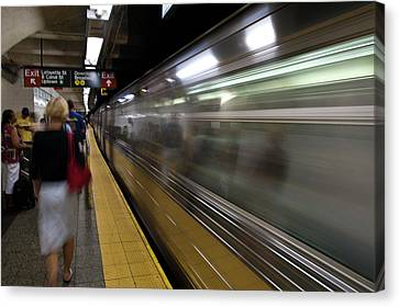 Nyc Subway Canvas Print by Sebastian Musial
