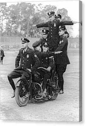 Nypd Motorcycle Stunts Canvas Print by Underwood Archives