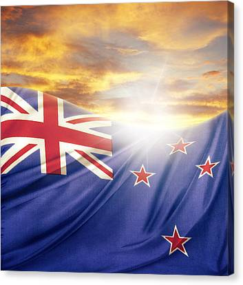 Nz Flag  Canvas Print by Les Cunliffe