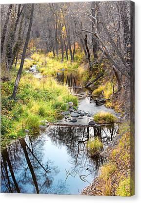 Oak Creek Twilight Canvas Print by Carl Amoth