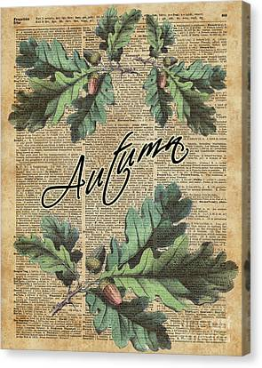 Oak Tree Leaves And Acorns, Autumn Dictionary Art Canvas Print by Jacob Kuch