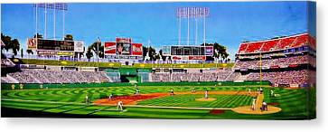 Oakland Coliseum Canvas Print by T Kolendera