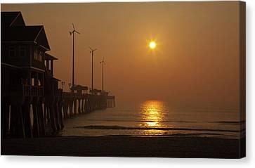 Ocean Dawn Wind Turbines Canvas Print by Daniel Lowe