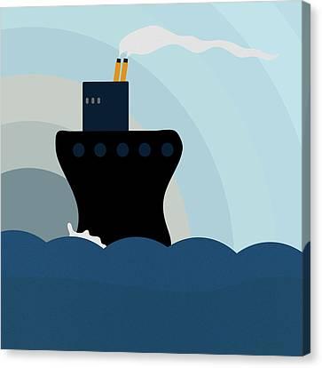 Ocean Liner Canvas Print by Frank Tschakert