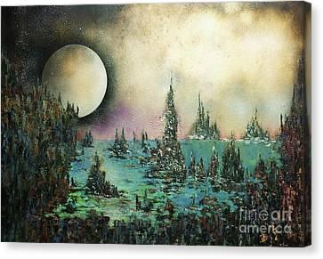 Ocean Moonrise Canvas Print by Kaye Miller-Dewing