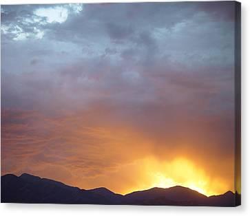 Ochre Mountains Stormy Sunset  Canvas Print by Derek Nielsen