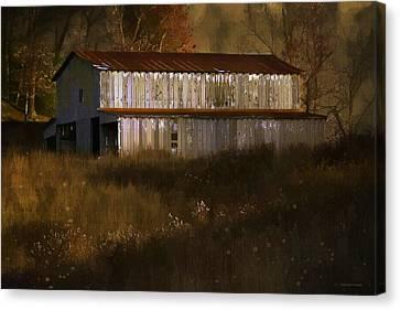 October Barn Canvas Print by Ron Jones