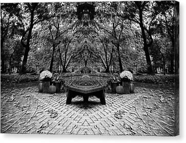 October On The Woodland Path Pa Mirror Image Bw Canvas Print by Thomas Woolworth