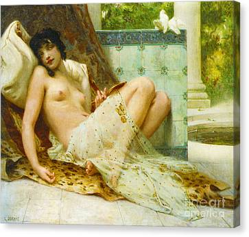 Odalisque Aux Colombes 1900 Canvas Print by Padre Art
