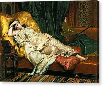 Odalisque With A Lute Canvas Print by Hippolyte Berteaux
