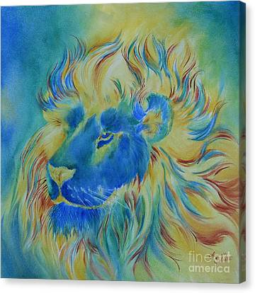 Of Another Color Blue Lion Canvas Print by Summer Celeste