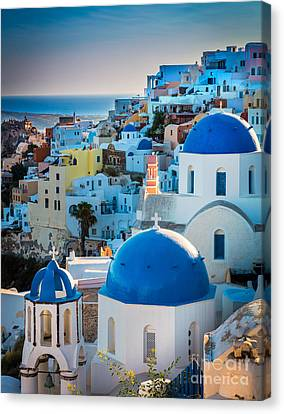 Oia Town Canvas Print by Inge Johnsson