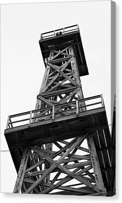 Oil Derrick In Black And White Canvas Print by Art Block Collections