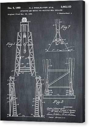 Oil Well Patent 1960 Chalk Canvas Print by Bill Cannon