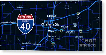 Oklahoma City Blue Old Map, Interstate 40 Canvas Print by Pablo Franchi