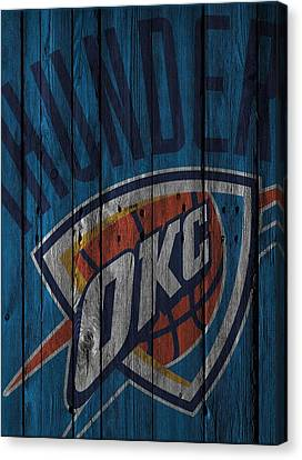 Oklahoma City Thunder Wood Fence Canvas Print by Joe Hamilton