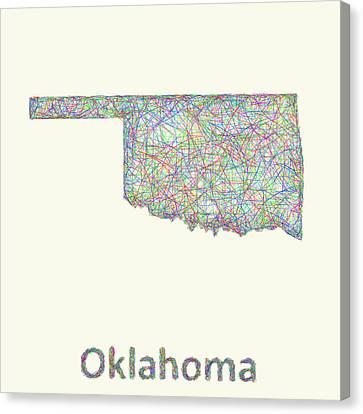 Oklahoma Line Art Map Canvas Print by David Zydd