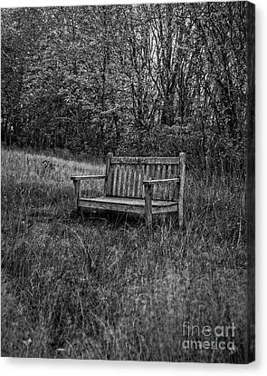 Old Bench Concord Massachusetts Canvas Print by Edward Fielding