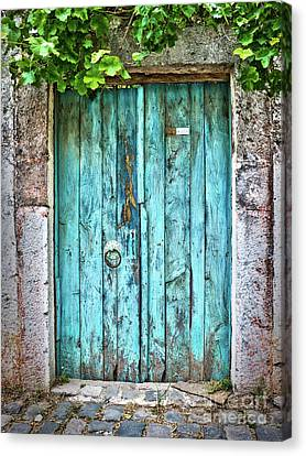 Old Blue Door Canvas Print by Delphimages Photo Creations