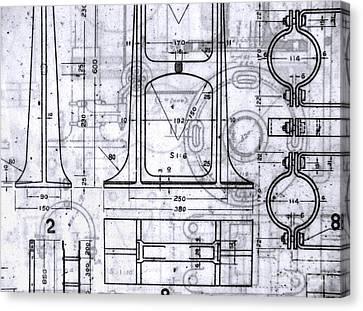 Old Blueprints Canvas Print by Yali Shi